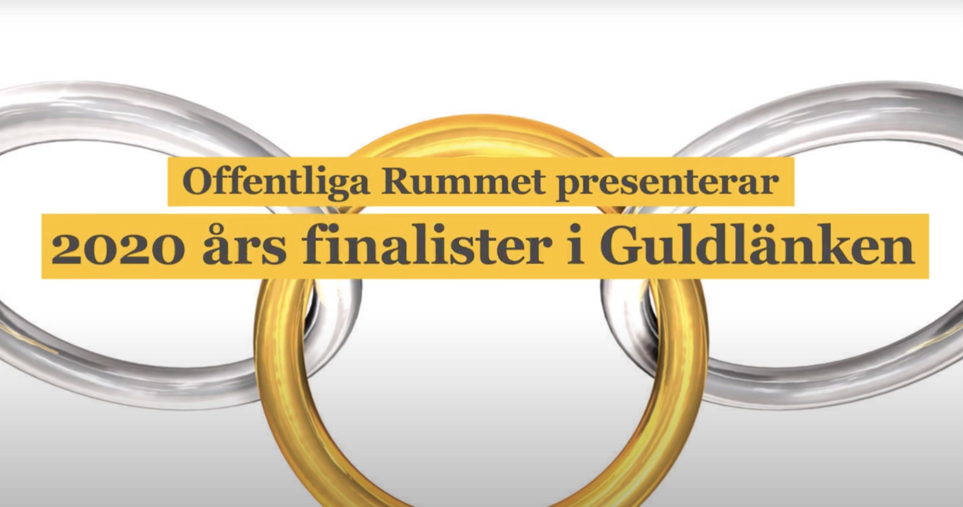 Bild av tre länkar, den mittersta i guld. Text över bilden: Offentliga rummet presenterar finalister i Guldlänken